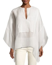 Ralph Lauren Belinda Split Neck Caftan Top Ivory