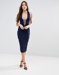 Hedonia Midi Pencil Dress With Lace Front Navy