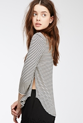 Forever 21 Striped High Slit Knit Top Cream Black