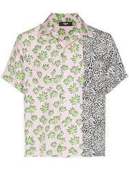Amiri Palm And Leopard Print Short Sleeved Silk Shirt Pink And Leopard