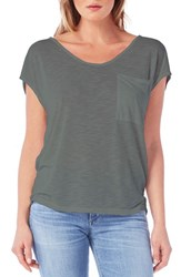 Michael Stars Women's Soft V Neck Pocket Tee Olive Moss
