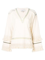 3.1 Phillip Lim Fringed V Neck Top Neutrals