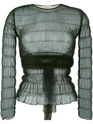 Romeo Gigli Vintage Lace Sheer Blouse Green