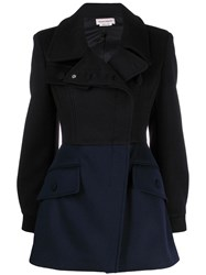 Alexander Mcqueen Dual Tone Fitted Coat Black