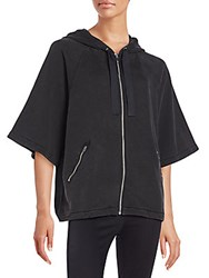Rag And Bone Caitlin Zip Front Hoodie Washed Black