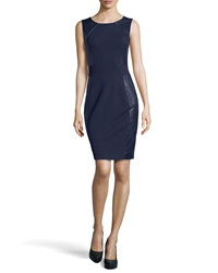 Halston Heritage Sleeveless Leather Panel Knit Dress Navy