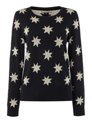 Biba Star Jacqaurd Crew Neck Jumper Black Gold