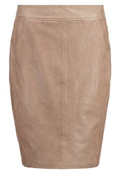 Comma Leather Skirt Brown Taupe