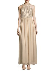 Js Collection Halter Tulle Dress Champagne