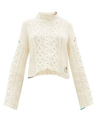 J.W.Anderson Jw Anderson Logo Embroidered Cotton Sweater Ivory
