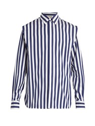 Marni Striped Cotton Poplin Shirt Blue Multi