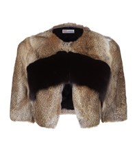 Red Valentino Cropped Fur Jacket Female Brown