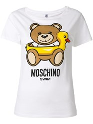 Moschino Swim Bear Print T Shirt White