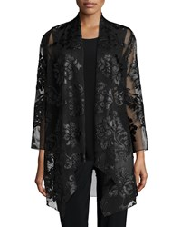 Caroline Rose Flourish Draped Cardigan Women's Black