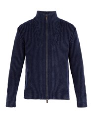 Iris Von Arnim Lucas High Neck Zip Through Cashmere Cardigan Navy