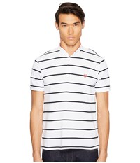 The Kooples Striped Polo With Officer Collar White Dark Navy Red Men's T Shirt