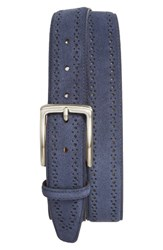 Nordstrom Men's Big And Tall Men's Shop Perforated Suede Belt Navy