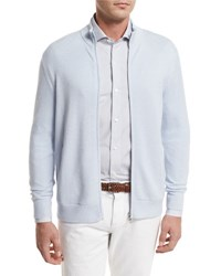 Loro Piana Cashmere Zip Front Bomber Cardigan Light Blue