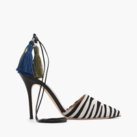 J.Crew Roxie Zebra Calf Hair Ankle Tie Pumps Black White Zebra