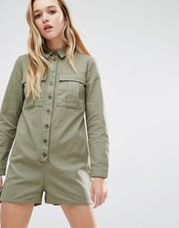 Daisy Street Military Playsuit With Pockets Khaki Green