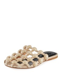 Alexander Wang Amelia Grid Studded Caged Leather Mule Flat Cashmere Beige
