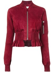 Cedric Charlier Ruffled Hem Bomber Jacket Red