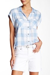 7 For All Mankind Cap Sleeve Dame Plaid Blouse Blue