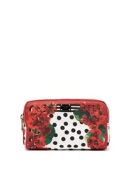 Dolce And Gabbana Geranium Polka Dot Print Wash Bag Red Multi