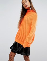 Mad But Magic Oversized Jumper In Chunky Rib Orange