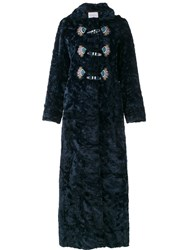 Peter Pilotto Faux Shearling Embroidered Coat Blue