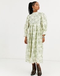 Sister Jane Dream Long Sleeve Midi Dress With Colume Sleeves In All Over Floral Embroidery Green