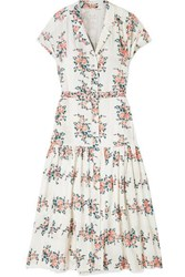 Veronica Beard Meagan Floral Print Silk Crepe De Chine Midi Dress White