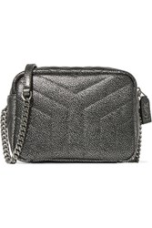 Saint Laurent Loulou Metallic Quilted Leather Shoulder Bag Silver