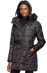 Women's Lauren Ralph Lauren Faux Fur Trim Belted Down And Feather Fill Coat Black