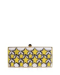 Judith Leiber Stars Large Coffered Crystal Clutch Bag Yellow Pattern