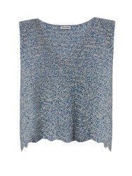 Rachel Comey Hewson V Neck Crochet Top Blue Multi
