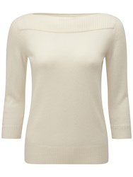 Pure Collection Boat Neck Cashmere Jumper Soft White