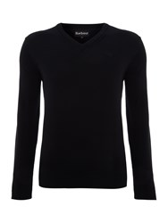 Barbour V Neck Pima Cotton Jumper Navy
