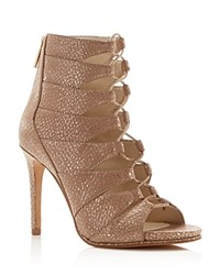 Kenneth Cole Barlow Metallic Caged Lace Up High Heel Sandals Rose Gold