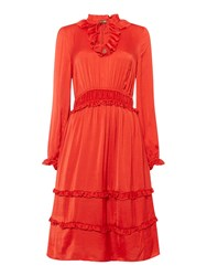Biba Ruffle Detail Ruched Waist Dress Red