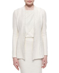 St. John Collection Fringe Trimmed Inlay Shantung Blazer Women's