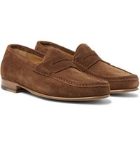 Yuketen Suede Penny Loafers Brown