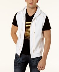 Inc International Concepts Men's Gold Piping Hooded Vest Created For Macy's White Pure
