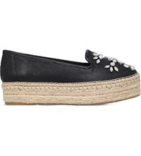 Carvela Lolly Embellished Leather Flatform Espadrilles Black