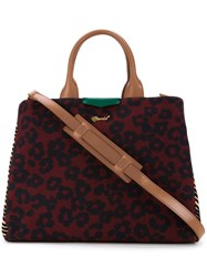 Muveil Leopard Print Tote Red
