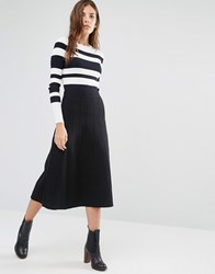 Warehouse Fit And Flare Knitted Skirt Black