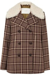 Adam By Adam Lippes Shearling Trimmed Checked Woven Coat Brown