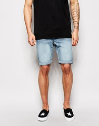 New Look Light Wash Slim Denim Short Blue