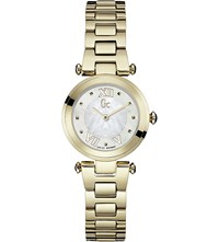 Gc Y07008l1 Lady Chic Yellow Gold Plated Watch White