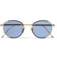 Thom Browne Round Frame Enamelled Gold Tone Sunglasses Navy